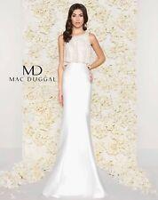 Mac Duggal Style 20057D Pearl Beaded Satin Trumpet Mermaid Wedding Gown, Size 10