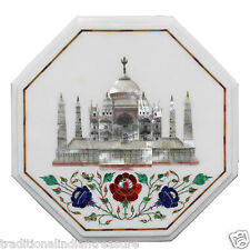 "12"" White Marble Table Top Malachite Inlay Tajmahal Work Pietradure Decor Arts"