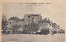 """SAINT-LAURENT-LES-MACON place du marché restaurant """"à la belle vue"""" écrite 1918"""