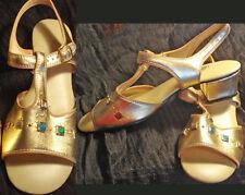 Vintage 70s Sandals Gold Shoes Jeweled Sandals 7M