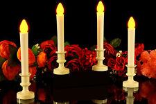 4 Flameless LED Konus Kerzen in Elfenbein Halter - Batterie Ereignis Beleuchtung