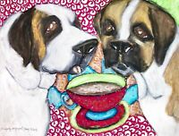 SAINT BERNARD Drinking Coffee Art Print Signed by Artist Dog Collectible 8 x 10