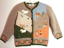 BABY GRAZIELLA Cardigan Italy Embroidered Sheep Wool Angora Child Sz ~12