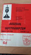 Football programme  -Division 1 67/68 - Arsenal v Southampton - 15/4/1967