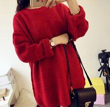 Comodo caldo maglione donna rosso morbido misto lana 4270