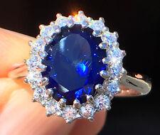 4 ct Sapphire RIng Swiss Corundum With Stunning CZ Moissanite Simulant Size 9