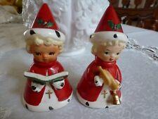 "Vintage Christmas Caroler Figurines Pair Japan Red Label M 4 1/2"" H Excellent"