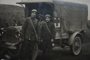 Real Photo Postcard of WW1 Red Cross Doughboys
