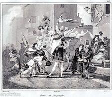 Roma: Carnevale.Mascherata.Costumi.Audot.Acciaio.Stampa Antica.Passepartout.1836