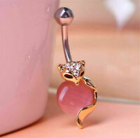 1PCS Stainless Steel Fox Belly Button Rings Navel Body Piercing Jewelry CZ
