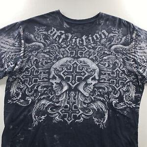 Men's Affliction Los Angeles Skull Cross All Over Tee Shirt Black Size Large