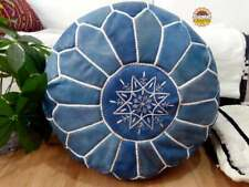 Leather Blue Pouf with White Stitching Moroccan handmade UnstuffedPouf footstool