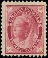 Canada #69 mint F-VF OG HR/DG 1898 Queen Victoria 3c carmine Maple Leaf CV$85.00