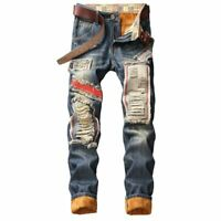 Men's Winter Warm Ripped Jeans Pants Fleece Lined Destroyed Denim Trousers Thick