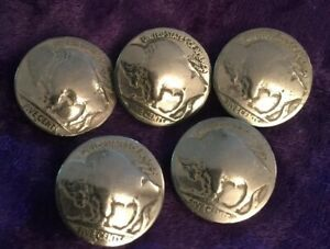 5 Buffalo Nickels Authentic Old!