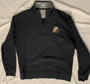 Men's Large Oregon Ducks Green 1/4 Zip Pullover 100% Cotton Officially Licensed