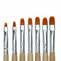 7PC Nail Art UV Gel Painting Drawing Brushes Acrylic Flat Brush Set Professional