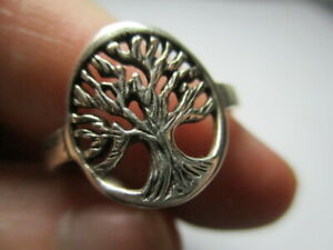 STERLING SILVER 925 ESTATE CIRCLE ROUND TREE OF LIFE OPEN WORK RING SIZE 9