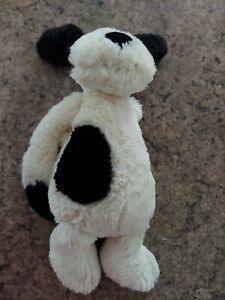 """Jellycat Bashful Puppy Dog White Black Medium 12"""" Plush Stuffed"""