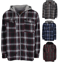 Men's Heavy Fleece Lined Sherpa Hoodie Plaid Flannel Jacket With Hood Sherpa