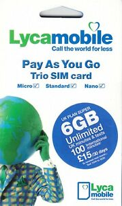 UK Lycamobile SIM Card preloaded with 6GB data & 100 International mins