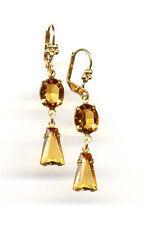 AMBER TOPAZ KEYSTONE cut-crystal EARRINGS 14K Gold gp Art Deco *Vintage Czech