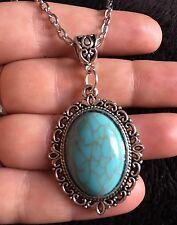 """Turquoise Cameo Pendant Cabochon Necklace 24"""" Faux Semi Precious Stone Silver"""