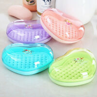 Heart Shape Soap Box Toilet Boxes Case Holder With Lid Bathroom Supplies G