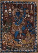 Kalamkari Krishna Painting Handmade Indian Ethnic Folk Cotton Fabric Design Art