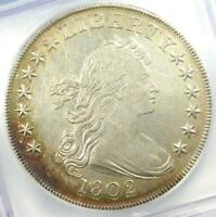 1802 Draped Bust Silver Dollar $1 Coin BB-242 - Certified ICG AU50 Details!