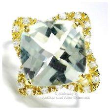 10K Gold Ring grüner Amethyst Prasiolith Diamanten 416er Gelbgold 17,2 mm Gr. 54
