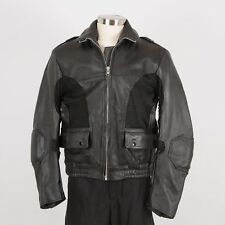 Men's Motorcycle Leather Racing Jacket Size 44 L Large Black