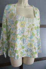 Sigrid Olsen Top Blue Green Floral Square Neck Long Sleeve XL