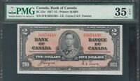 1937 Canada Bank Note $2 KGVI BC22c  Coyne/Towers PMG VF35 EPG TMM*