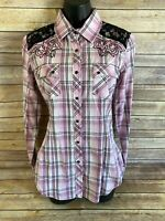 Rock & Roll Cowgirl Pearl Snap Shirt Size Small Womens Pink Plaid Western Top