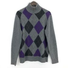 J Crew Mens M Medium Fine Lambswool Gray Harriman Argyle Half Zip Sweater