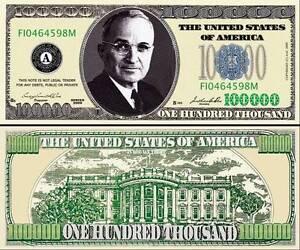 """TRUMAN Harry - BILLET """"100.000 DOLLAR US"""" Collection President Million Histoire"""