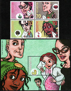 Suiza 1150 Bloque De 4 , 1151 S/S, MNH Cómic Franja Arte, 2003