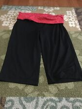 Large 12/14 Danskin Now Black Capri With Red Waist Band