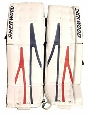 New Sherwood T90 Goal Sr. ice hockey goalie leg pads senior white/Blue/Red 34+2""
