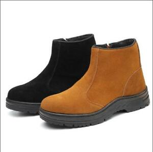 Mens Steel Toe Suede Ankle Boots Safety Prevent Puncture Work Shoes Side Zip V74