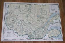 1939 ORIGINAL VINTAGE LARGE 21 X 15 MAP OF QUEBEC / EASTERN TOWNSHIP / CANADA