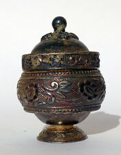 INDIA: Fine and old small silver vase with lid - patina