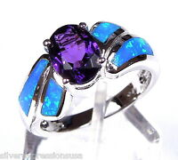 8x6mm Amethyst & Blue Fire Opal Inlay 925 Sterling Silver Ring Size 6,7,8,9