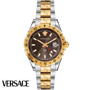 Versace V11040015 Hellenyium GMT brown silver gold Steel Men's Watch NEW