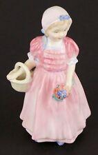 """Royal Doulton #Hn1677 Tinker Bell Pink Dress Flower Basket 4 1/2"""" Figurine Ret'd"""