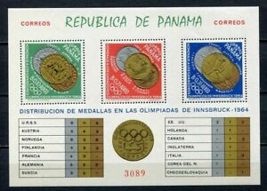 37343) Panama 1964 MNH Olympic Medals Innsbruck S/S
