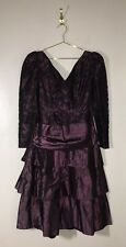 VTG 80'S SMALL PURPLE TAFFETA LACE TIERED SKIRT HUGE BOW PARTY PROM DRESS FORMAL