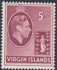 BRITISH VIRGIN IS: 1938 5/- carmine chalky paper  perf 14 SG 119 mint