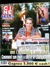▬►Ciné télé Revue 11/09/2003; Justine Henin/ Belmondo et son Bébé/ miss Belgiqu